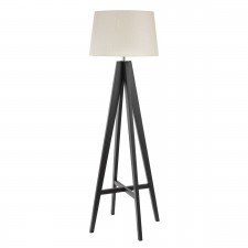 Dark Wood Floor Lamp - Complete with Cream Shade