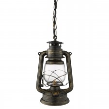 Traditional Lantern Ceiling Light - Black, Gold Finish with Hurricane Glass