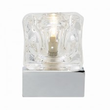 Ice Cube Table Lamp with Clear, Frosted Glass - Chrome
