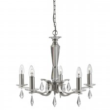 Royale 5 Light Ceiling, Satin Silver, Hexagonal Clear Glass Sconces & Glass Drops