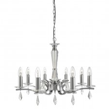 Royale 8 Light Ceiling, Satin Silver, Hexagonal Clear Glass Sconces & Glass Drops