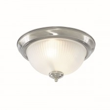 IP44 American Diner Flush Ceiling Light - Satin Silver, Acid Ribbed Glass