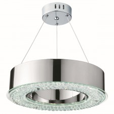 Halo Circular LED Ring Pendant - Polished Chrome, Clear Crystal Glass