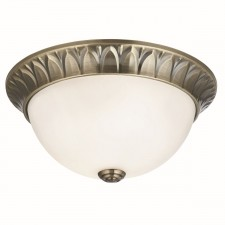 Traditional Flush Ceiling Light - 2 Light, Antique Brass, Frosted Glass