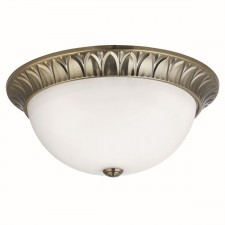 Traditional Flush Ceiling Light - 3 Light, Antique Brass, Frosted Glass