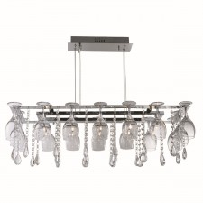 Vino 10 Light Wine Glass Ceiling Light - Chrome with Crystal Glass