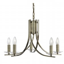 Ascona 5 Light Ceiling Light - Antique Brass