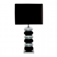 Table Lamp (Single) - Pillow Stacked Black/Chrome Base, Black Shade
