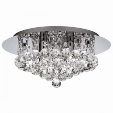 Decorative Bathroom Flush Ceiling Light - 4 Light, Chrome, Crystal Glass (IP44)