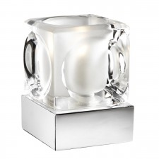 Touch Table Lamp, Chrome, Ice Cube Clear/Frosted Glass Shade