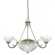 Windsor Ii 5 Light Antique Brass Fitting-Ribbed Glass