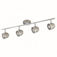 Palmer Split Ceiling Spotlight Bar with Adjustable Heads - 4 Spot, Chrome, Satin Silver
