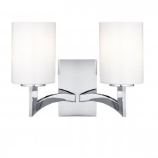 Gina Double Wall Light - Chrome, Opal Glass
