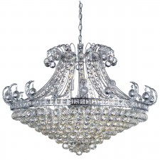 Bloomsbury 8 Light Crystal Tiered Chandelier, Chrome, Clear Crystal Deco