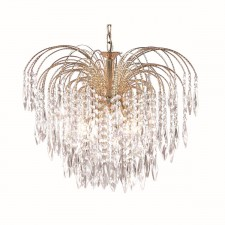Waterfall Chandelier- 5 Light Crystal & Gold