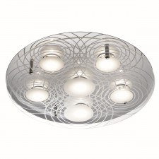 LED Flush Ceiling Light with Patterned Glass - 6 Light, Chrome
