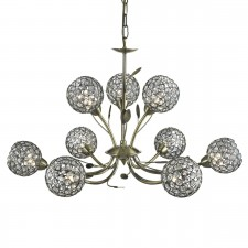 Bellis 2 9 Light Ceiling Light - Antique Brass, Acrylic Beads