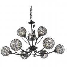 Bellis Ii - 9 Light Ceiling Pendant Black Chrome With Clear Glass Deco Shades