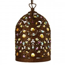 Moroccan Single Pendant Light - Antique Bronze, Multi-Coloured Detail