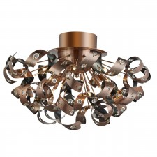 Curls - 12 Light Flush Ceiling, Antique Copper, Clear Glass Buttons