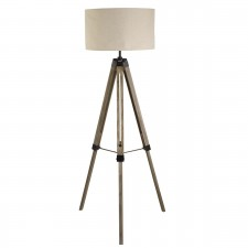 Tripod Floor Lamp, Washed Brown Base, Linen Drum Shade