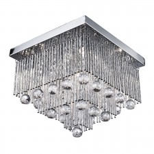 Beatrix Square Flush Diamond Cut Crystal Ceiling Light - 5 Light, Chrome