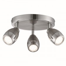Spotlight 3 Light Led Plate, Satin Silver & Chrome