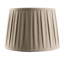 12 inch tapered shade pleated, taupe faux linen fabric