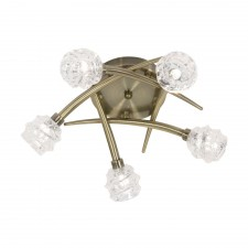 Salish Semi Flush Ceiling Light - 5 Light, Antique Brass