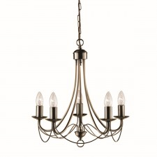 Maypole Ceiling Light - 5 Arm antique brass