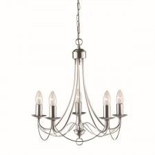 Maypole Decorative Ceiling Light - 5 Light, Satin Silver