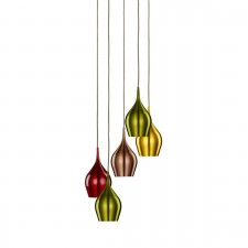 Vibrant Multi-Drop Coloured Aluminium Ceiling Light - 5 Light, Chrome