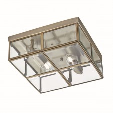 Flush Bevelled Glass Box Ceiling Light - 2 Light, Antique Brass