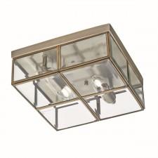 Flush Bevelled Glass Box Ceiling Light - 2 Light, Antique Brass