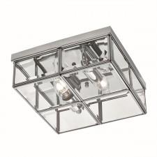 Flush Bevelled Glass Box Ceiling Light - 2 Light, Chrome
