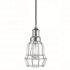Bell Cage 1 Light Chrome Cage Pendant