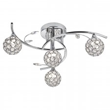 Swirls Semi Flush Ceiling Light with Glass Shades - 4 Light, Chrome