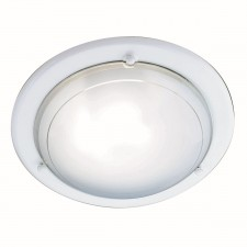 Jupiter Flush Ceiling Light - White & Glass