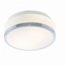 Searchlight Flush opal glass ceiling light - Chrome