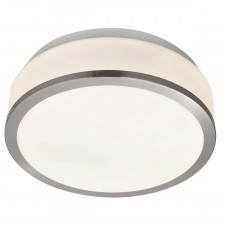 Searchlight Flush opal glass ceiling light - Satin silver Medium