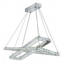 Clover - 2 X Led Rectangle Frame Ceiling , Chrome, Clear Crystal Trim