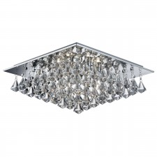 Hanna - 6 Light Square Flush Ceiling, Chrome, Clear Crystal Pyramid Drops