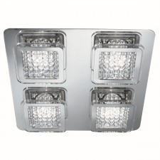 Quadrant LED Square Flush Ceiling Light - 4 Light, With Acrylic Beaded Detail