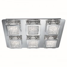 Quadrant LED Rectangle Flush Ceiling Light - 6 Light, With Acrylic Beaded Detail