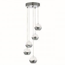 Iceball 5 Light Led Ceiling Multi-Drop, Chrome, Clear Glass/Bubble Shades