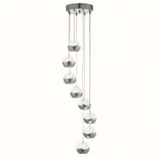 Iceball 8 Light Led Ceiling Multi-Drop, Chrome, Clear Glass/Bubble Shades