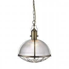 Industrial 1 Light Pendant - Antique Brass, with Ribbed Glass