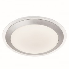 Led Bathroom Ip44 Flush, Clear & Silver, White Shade