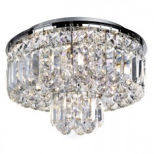 Vesuvius Crystal Flush Ceiling Light - 5 Light, Chrome