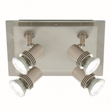 Top Hat Ceiling Light - Satin Silver & Glass